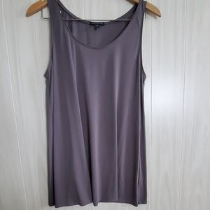 Elieen Fisher Gray Silk Jersey Long Tunic Tank Top
